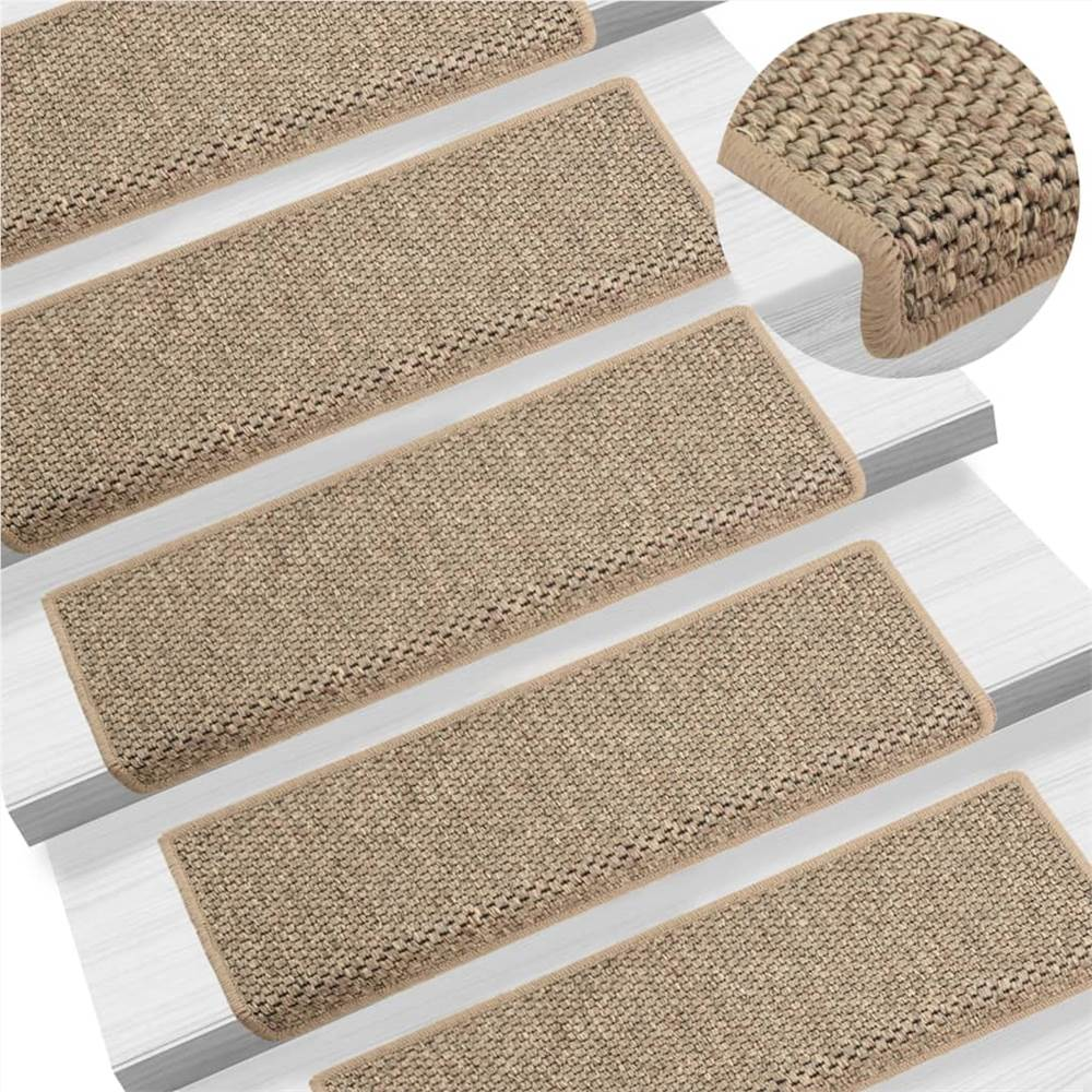 Self-adhesive Stair Mats Sisal-Look 15 pcs 65x25 cm Dark Beige