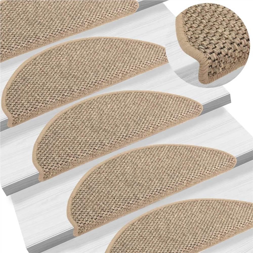 Tapis d'escalier autocollants aspect sisal 15 pcs 65x25 cm beige foncé