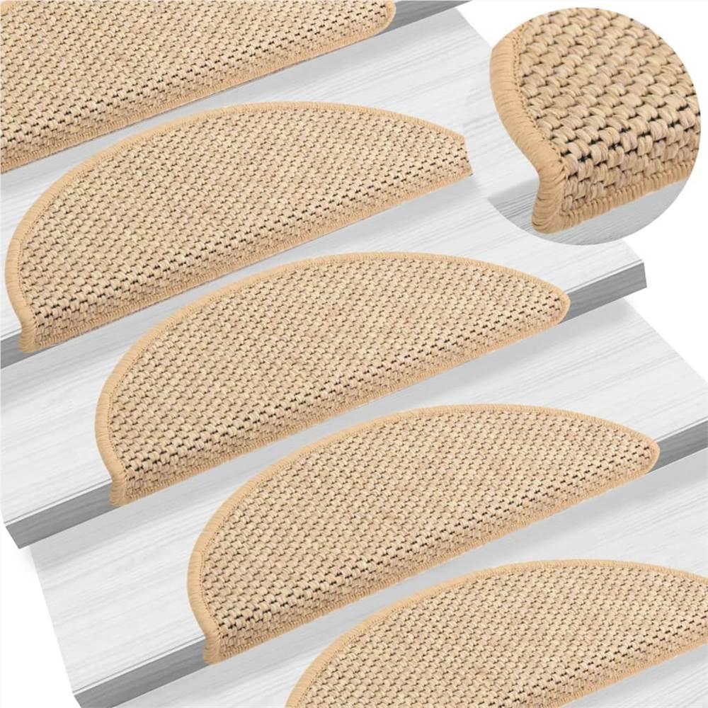 Tapis d'escalier autocollants aspect sisal 15 pcs 65x25 cm beige clair