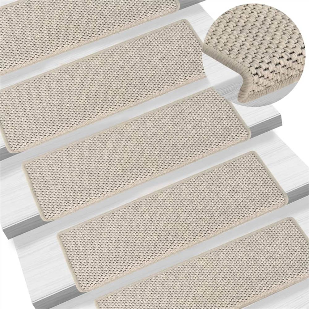 Tapis d'escalier autocollants aspect sisal 15 pcs 65x25 cm argent