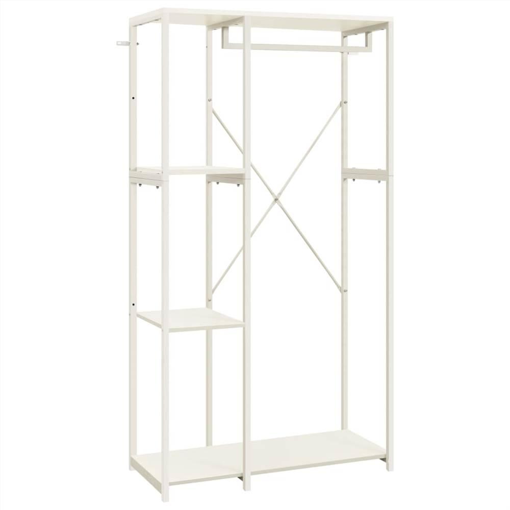 Kleiderschrank Weiß 90x40x167 cm Metall und Spanplatte