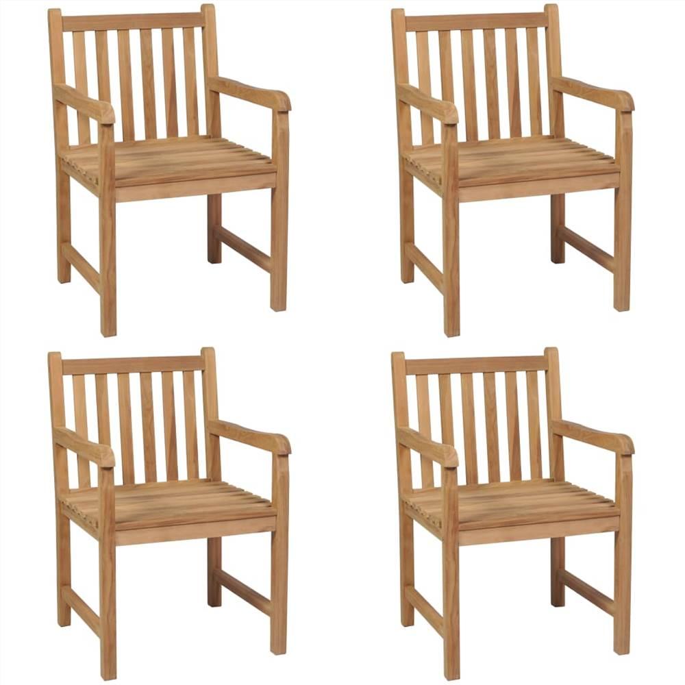 Уличные стулья, 4 шт., Массив тикового дерева