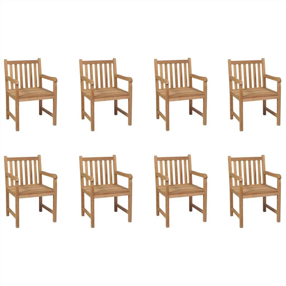 Уличные стулья, 8 шт., Массив тикового дерева