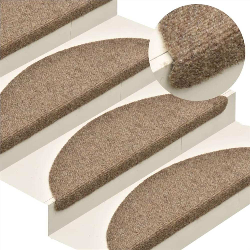 Tapis d'escalier auto-adhésifs 10 pcs Crème 56x17x3 cm Poinçon aiguille