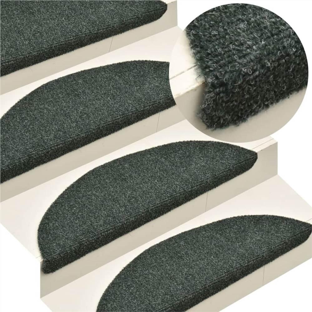 Tapis d'escalier auto-adhésifs 10 pièces Vert 56x17x3 cm Poinçon aiguille