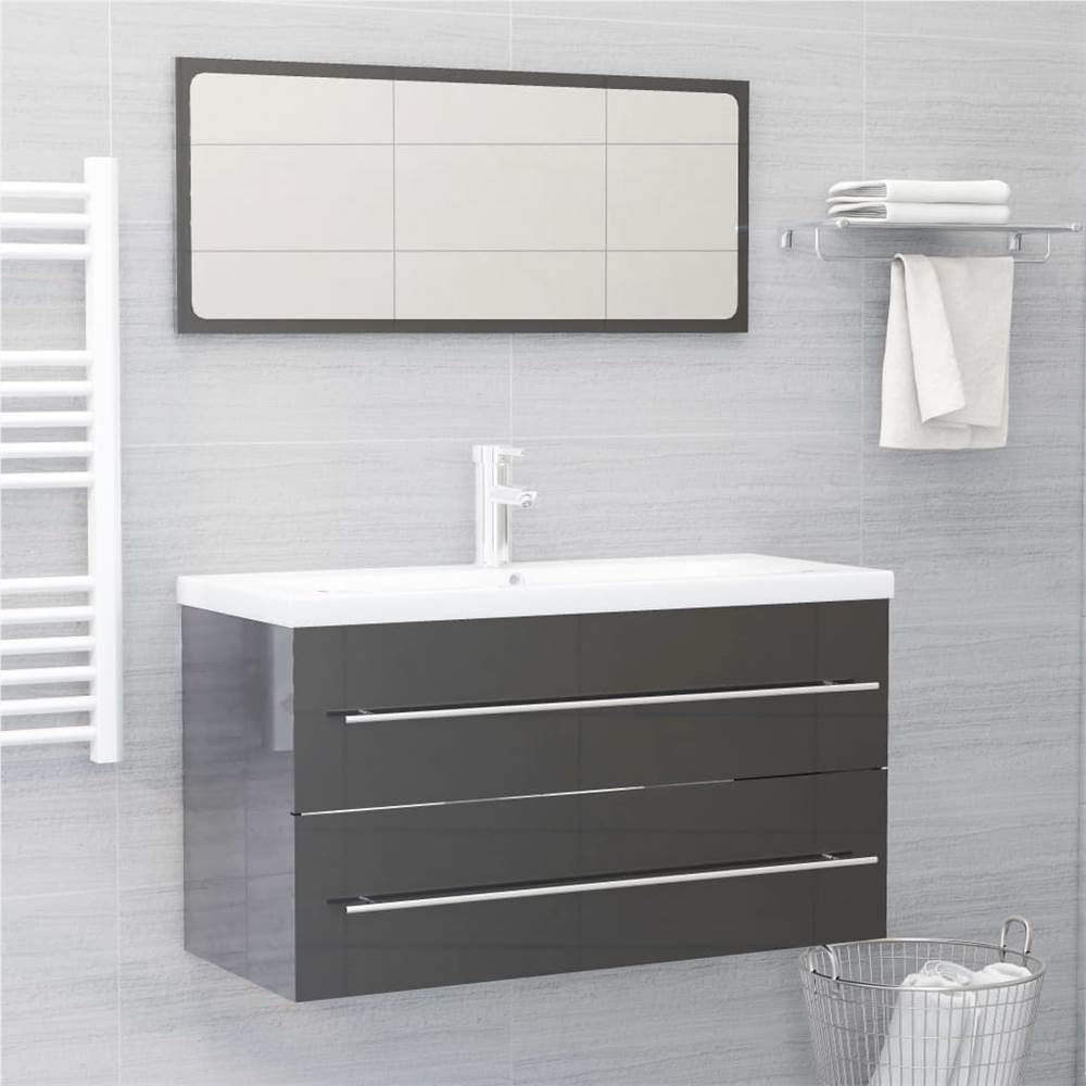 2 Piece Bathroom Furniture Set High Gloss Grey Chipboard
