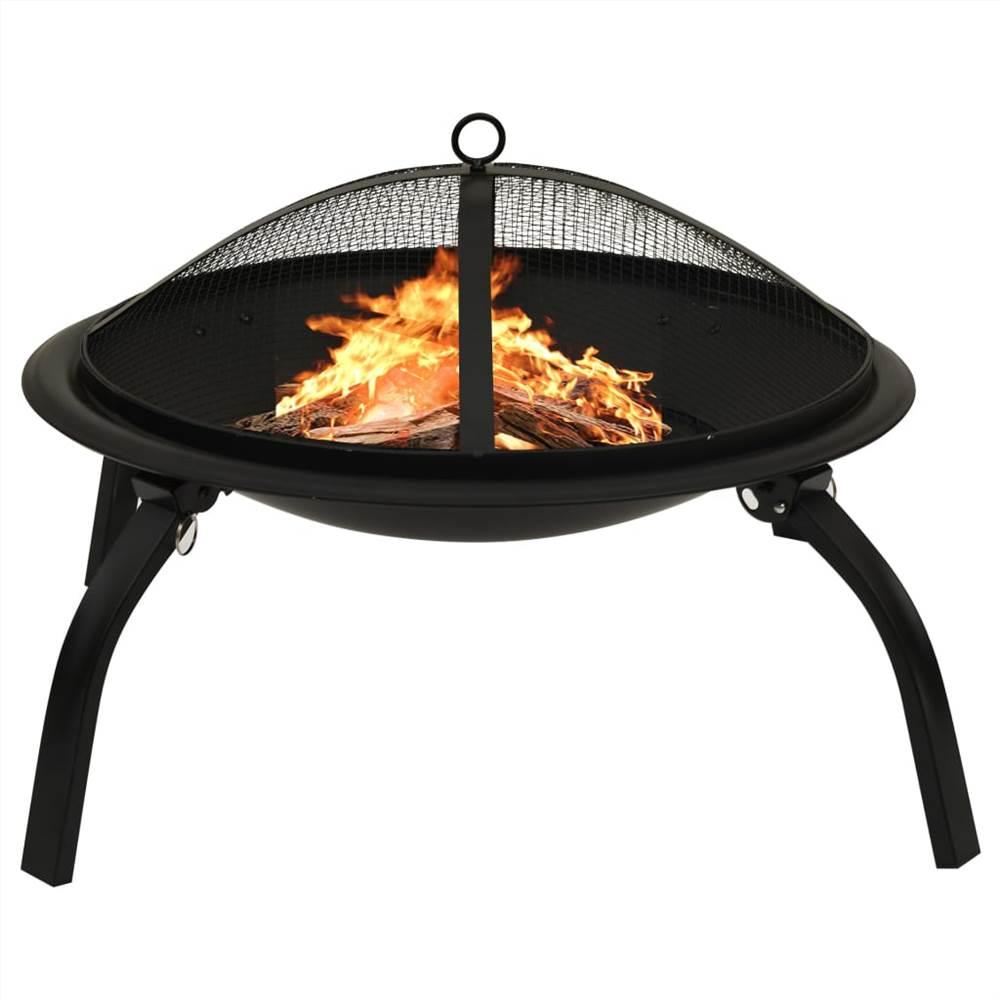 2-in-1 Feuerstelle und Grill mit Poker 56x56x49 cm Stahl