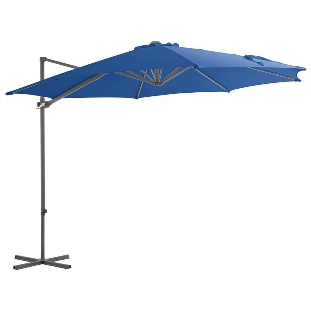 Cantilever Umbrella with Steel Pole Azure Blue 300 cm