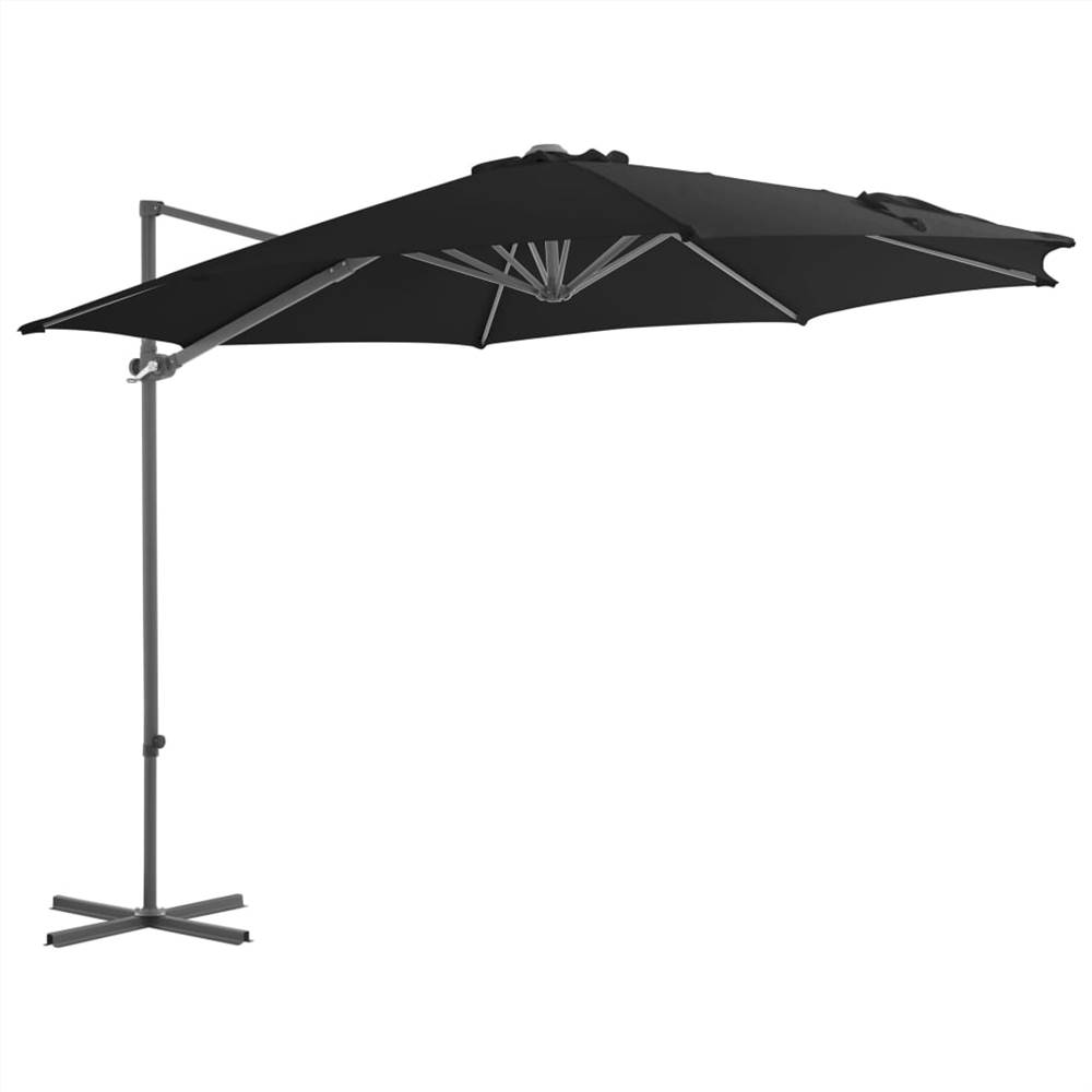 Cantilever Umbrella with Steel Pole Black 300 cm