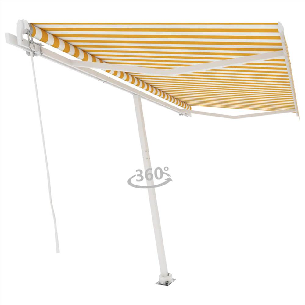 Freestanding Manual Retractable Awning 400x350 cm Yellow/White