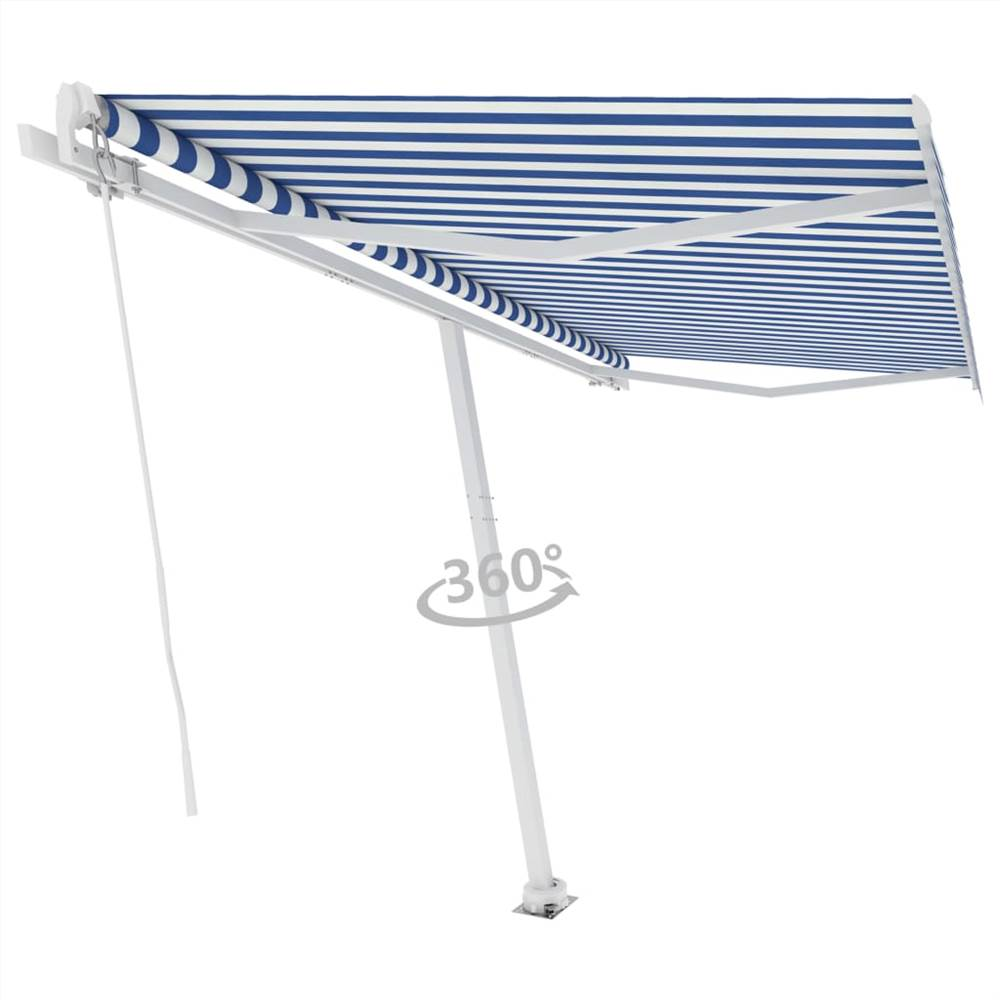 Freestanding Manual Retractable Awning 450x300 cm Blue/White