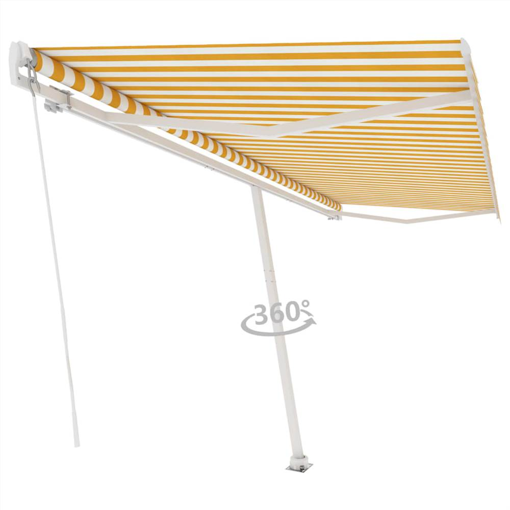 Freestanding Manual Retractable Awning 500x300 cm Yellow/White