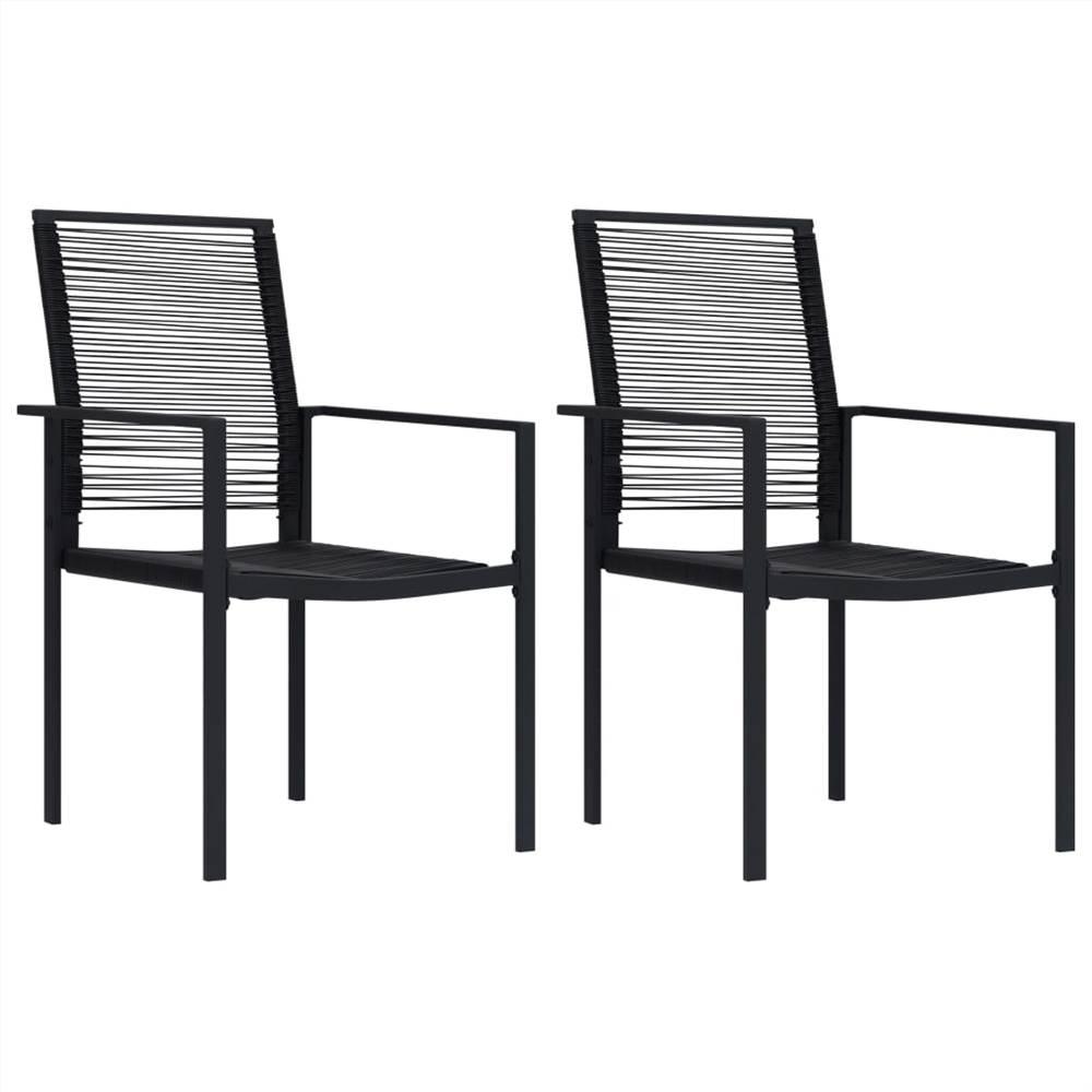 Chaises de jardin 2 pcs PVC Rotin Noir