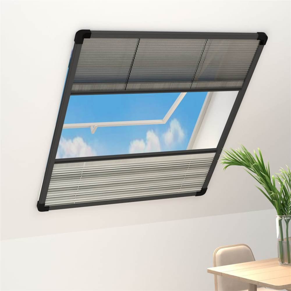 Plisse Insect Screen for Windows Aluminium 80x100cm with Shade