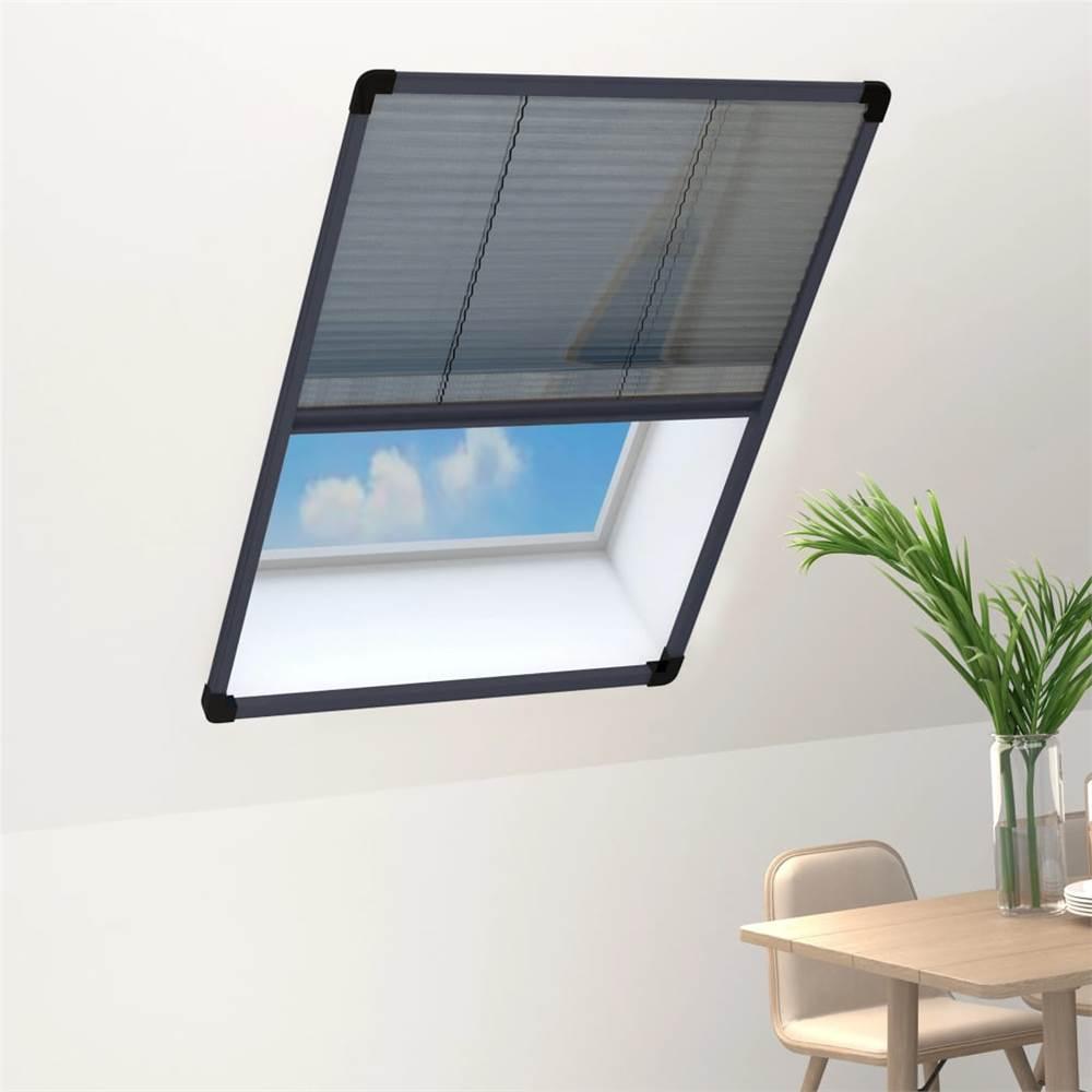 Plisse Insektenschutz für Fenster Aluminium Anthrazit 80x120 cm