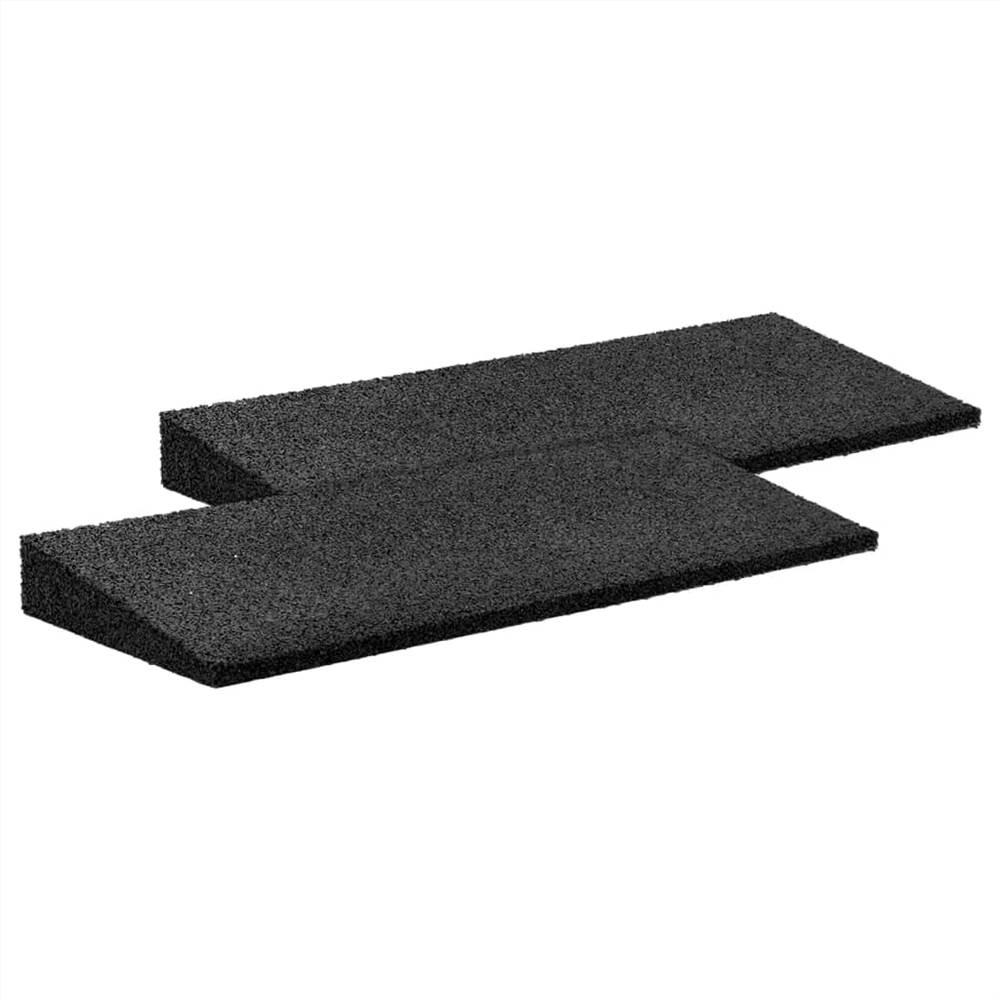 Rampe de trottoir en caoutchouc 2 pcs Noir 50x20x1-4,3 cm