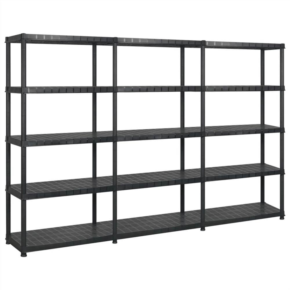 Aufbewahrungsregal 5-Tier Schwarz 274,5x45,7x185 cm Kunststoff