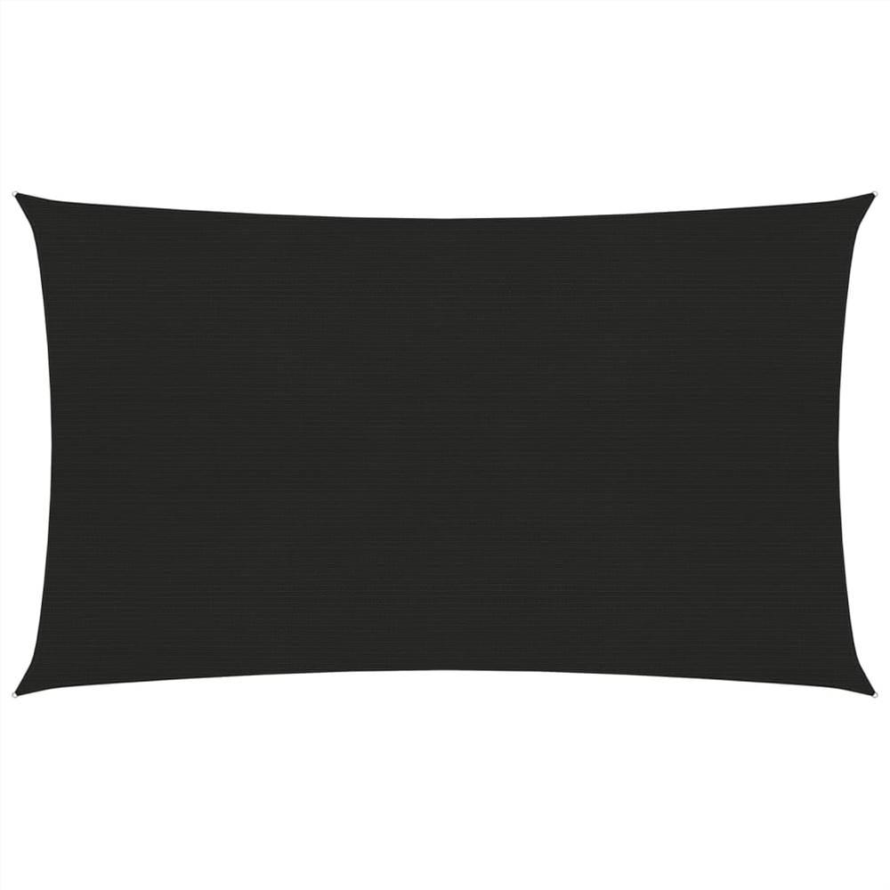 Sonnensegel 160 g/m² Schwarz 3x6 m HDPE