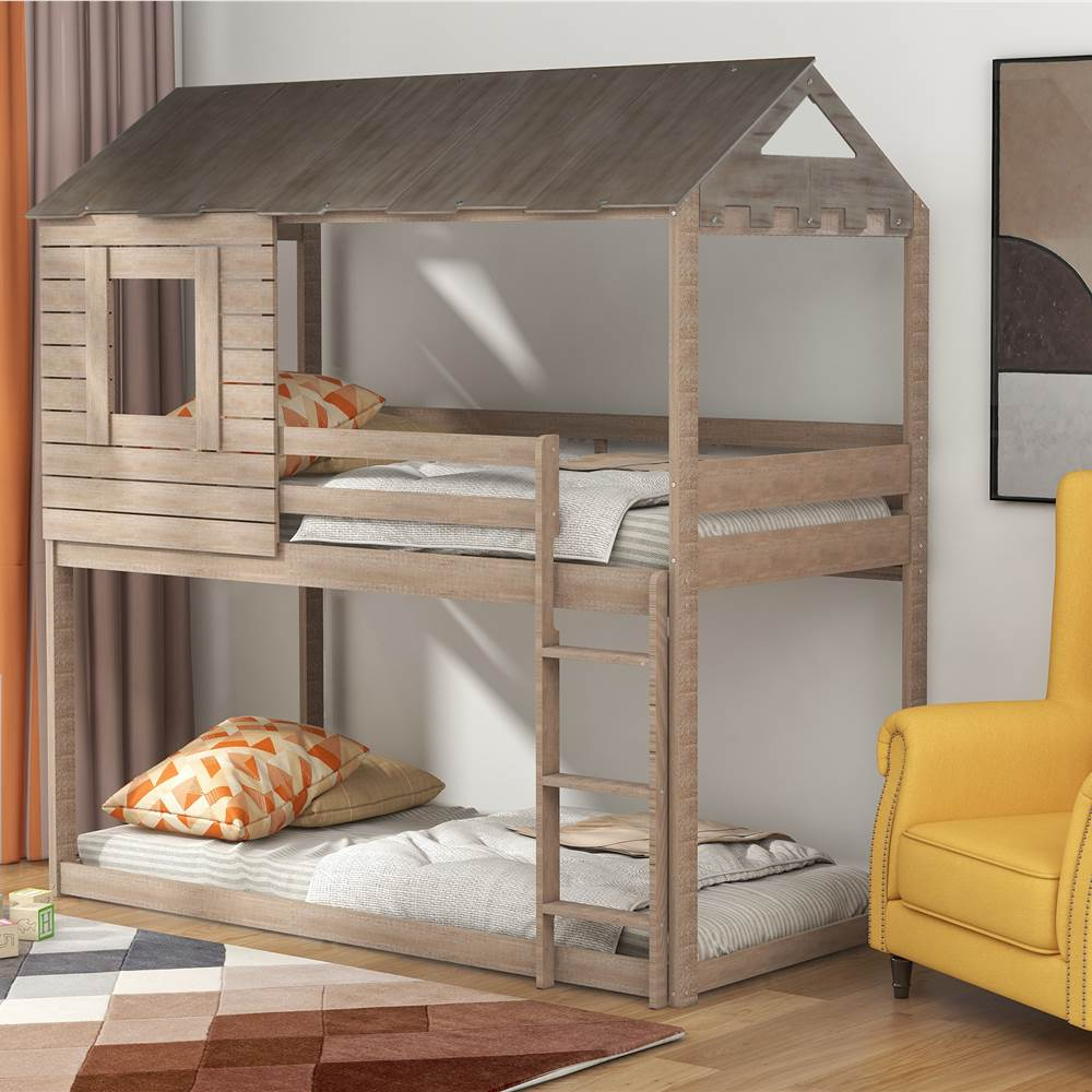 Twin-Over-Twin Size House-shaped Bunk Bed Frame with Roof, Ladder, and Wooden Slats Support, No Spring Box Required, for Kids, Teens (Frame Only) - Antique Gray