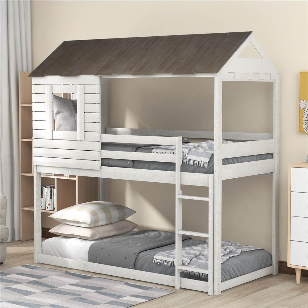Twin-Over-Twin Size House-shaped Bunk Bed Frame with Roof, Ladder, and Wooden Slats Support, No Spring Box Required, for Kids, Teens (Frame Only) - Antique White