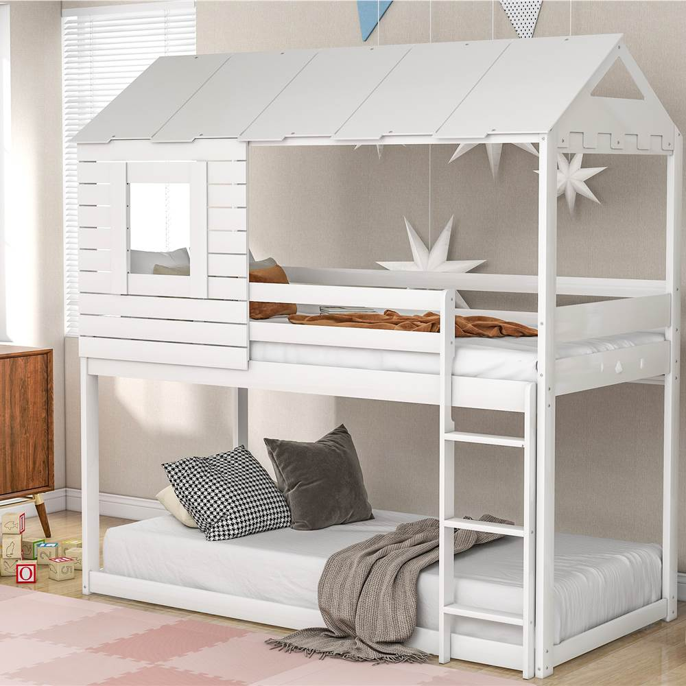 Twin-Over-Twin Size House-shaped Bunk Bed Frame with Roof, Ladder, and Wooden Slats Support, No Spring Box Required, for Kids, Teens (Frame Only) - White
