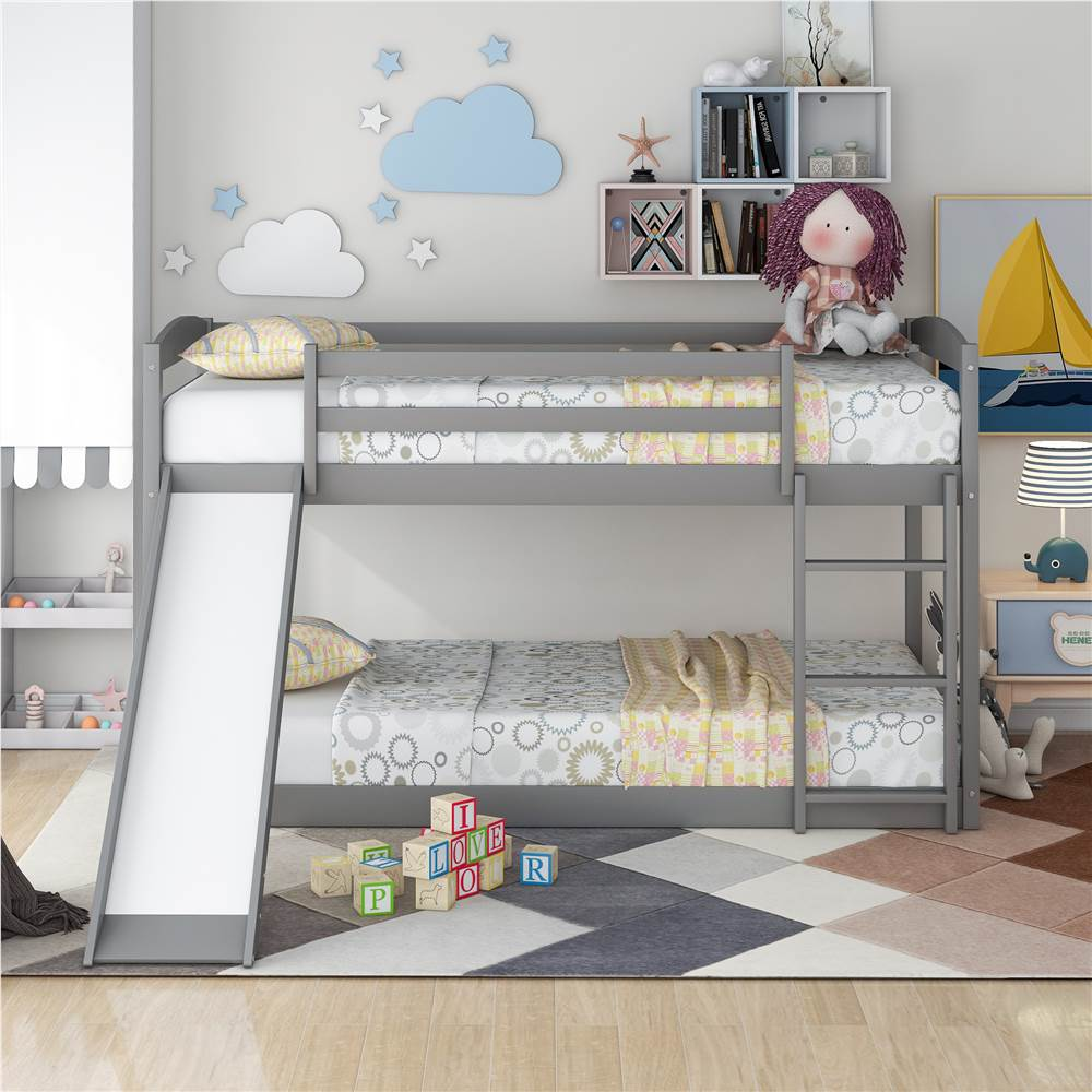 Twin-Over-Twin Size Bunk Bed Frame with Convertible Slide, Ladder, and Wooden Slats Support, No Spring Box Required, for Kids, Teens, Boys, Girls (Frame Only) - Gray