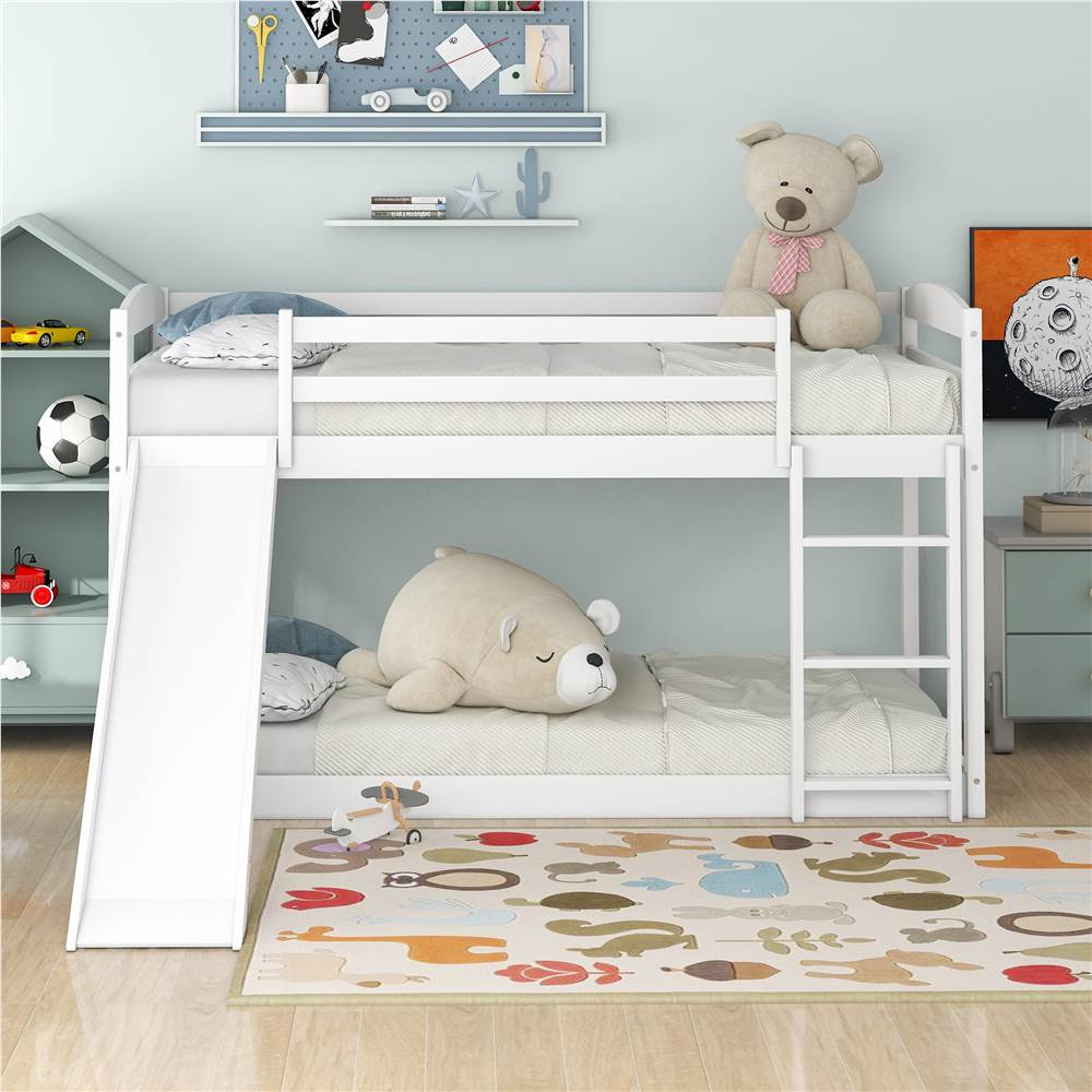 Twin-Over-Twin Size Bunk Bed Frame with Convertible Slide, Ladder, and Wooden Slats Support, No Spring Box Required, for Kids, Teens, Boys, Girls (Frame Only) - White