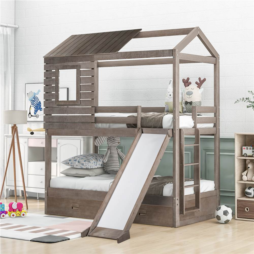 Twin-Over-Twin Size House-shaped Bunk Bed Frame with 2 Storage Drawers, Slide, Ladder, and Wooden Slats Support, No Spring Box Required, for Kids, Teens (Frame Only) - Gray