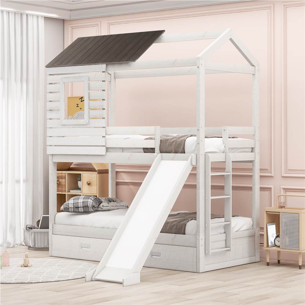 Twin-Over-Twin Size House-shaped Bunk Bed Frame with 2 Storage Drawers, Slide, Ladder, and Wooden Slats Support, No Spring Box Required, for Kids, Teens (Frame Only) - White