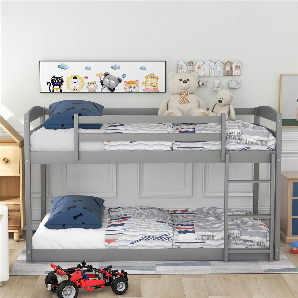 Twin-Over-Twin Size Bunk Bed Frame with Ladder, and Wooden Slats Support, No Spring Box Required, for Kids, Teens, Boys, Girls (Frame Only) - Gray