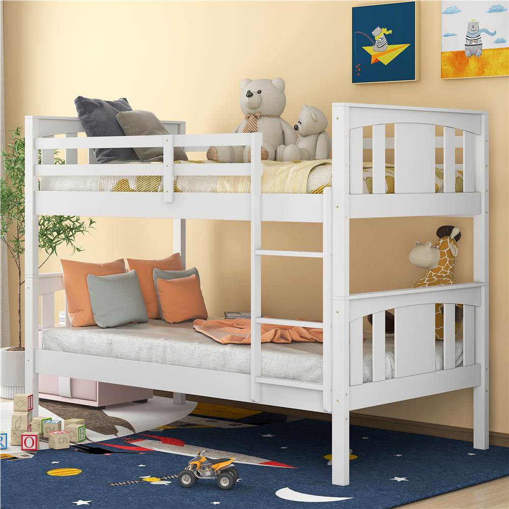 Twin-Over-Twin Size Bunk Bed Frame with Ladder, and Wooden Slats Support, No Spring Box Required, for Kids, Teens (Frame Only) - White