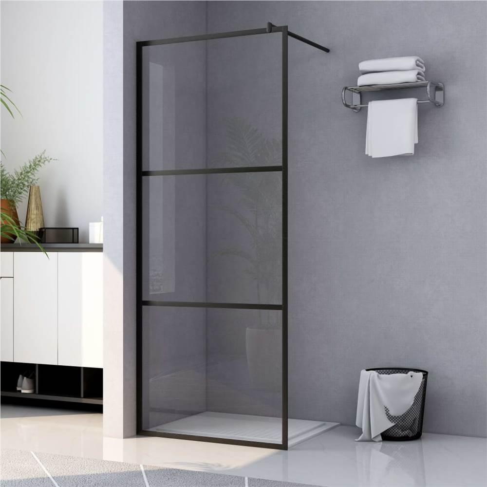 Walk-in Duschwand mit klarem ESG Glas Schwarz 115x195 cm