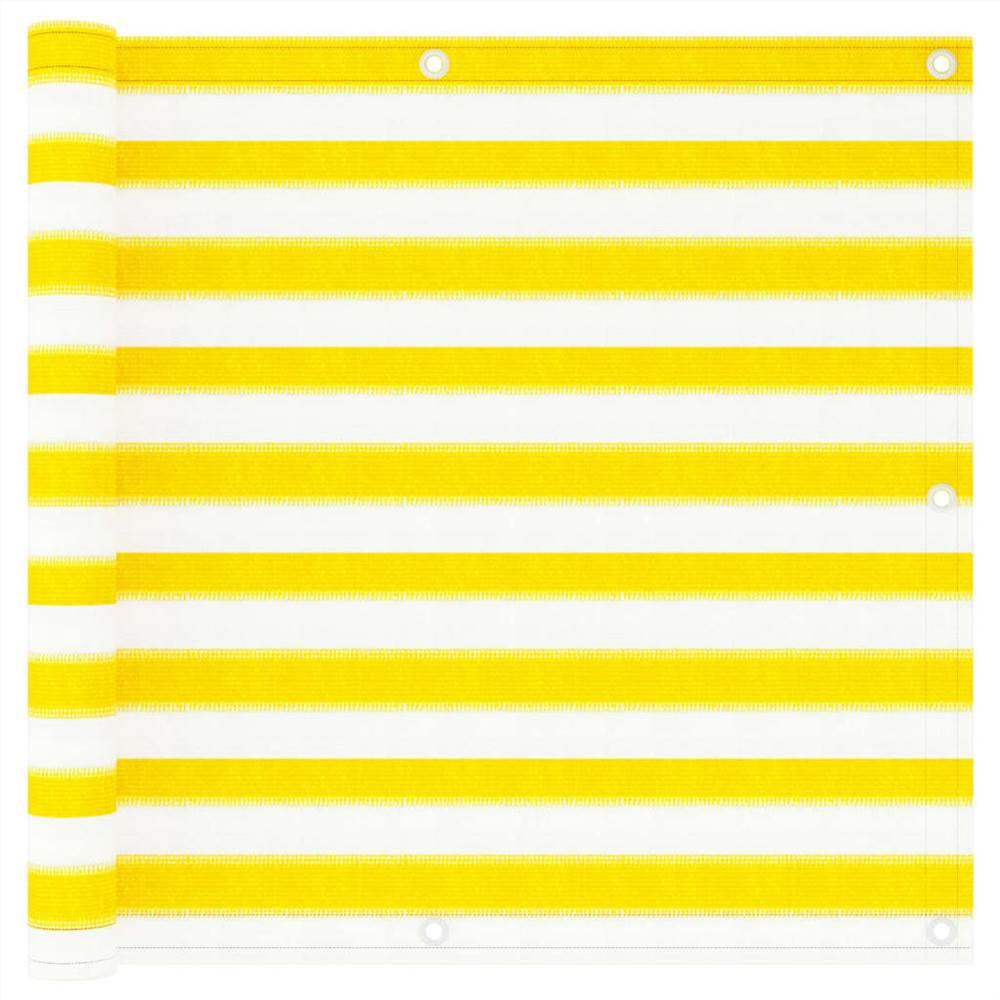 Balkon-Trennwand Gelb und Weiß 90x300 cm HDPE