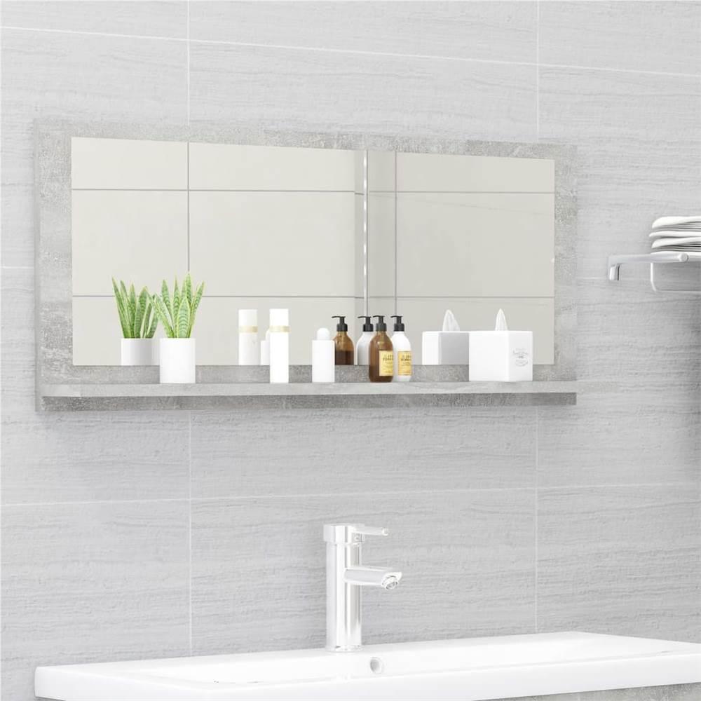 Bathroom Mirror Concrete Grey 90x10.5x37 cm Chipboard