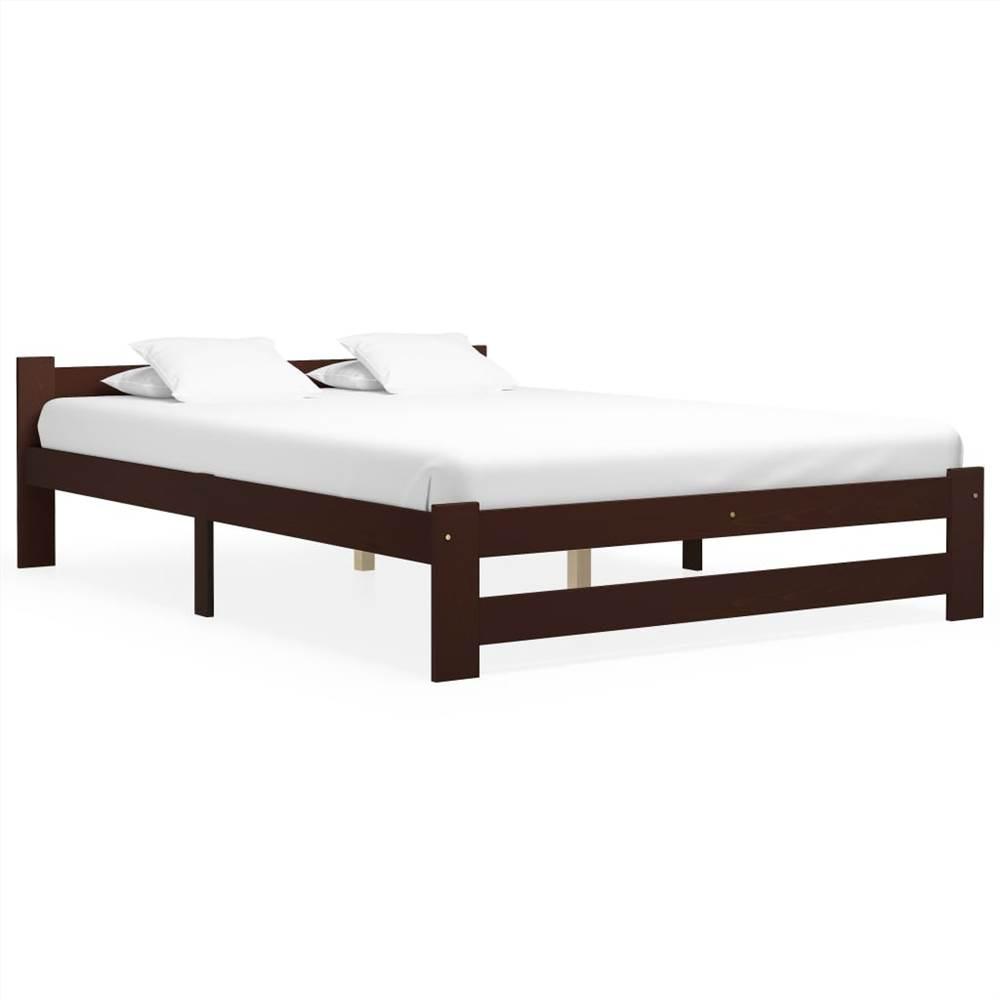 Bed Frame Dark Brown Solid Pine Wood 140x200 cm