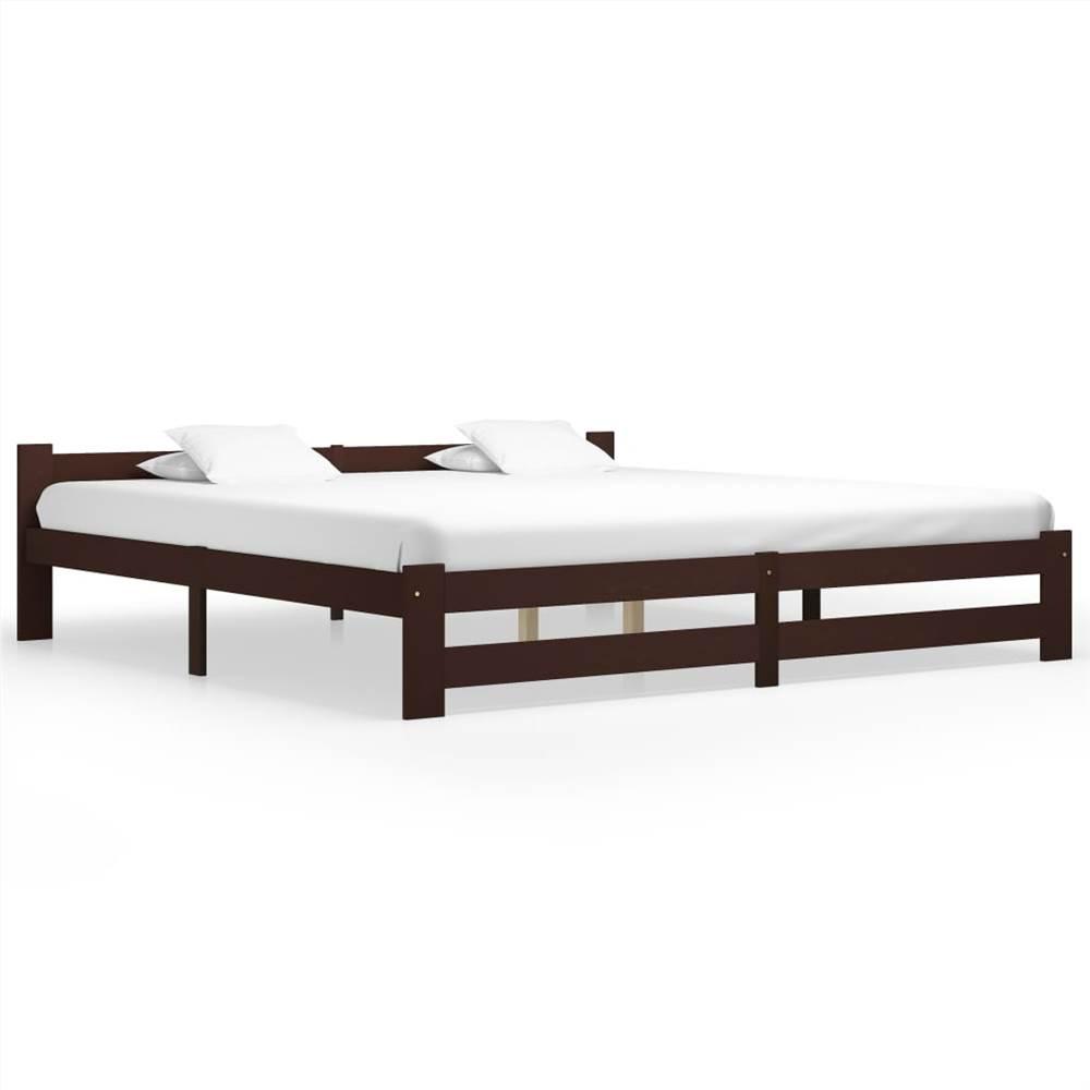 Bed Frame Dark Brown Solid Pine Wood 200x200 cm