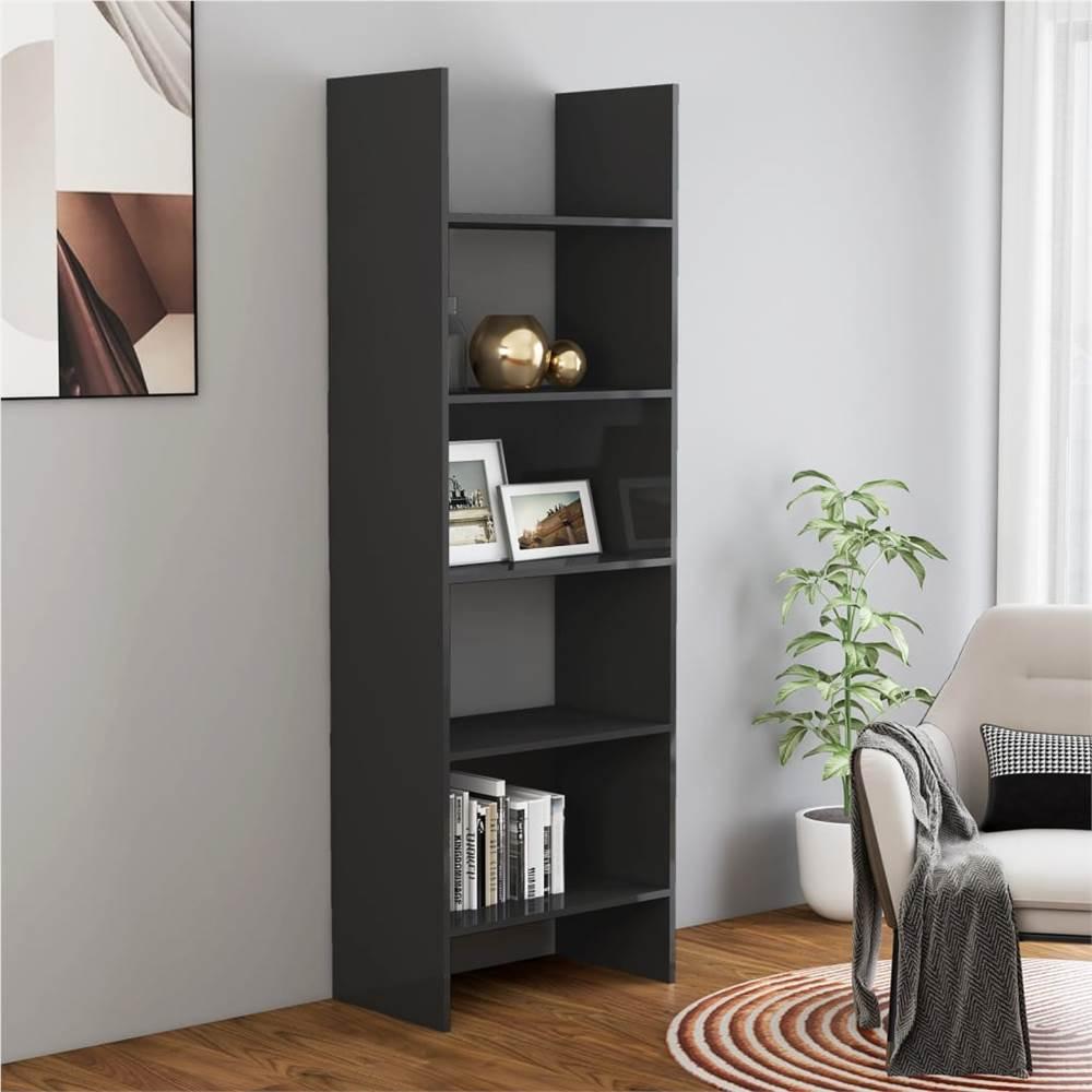 Book Cabinet High Gloss Grey 60x35x180 cm Chipboard