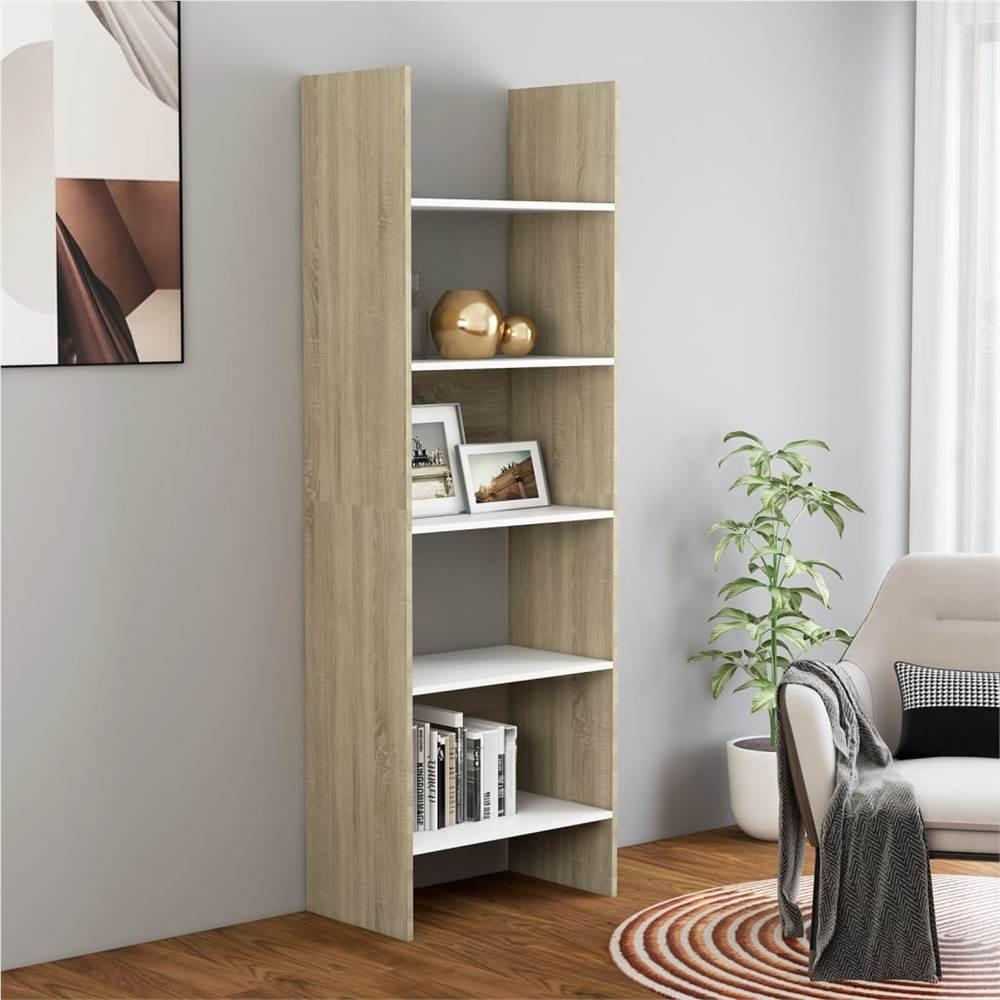 Book Cabinet White and Sonoma Oak 60x35x180 cm Chipboard