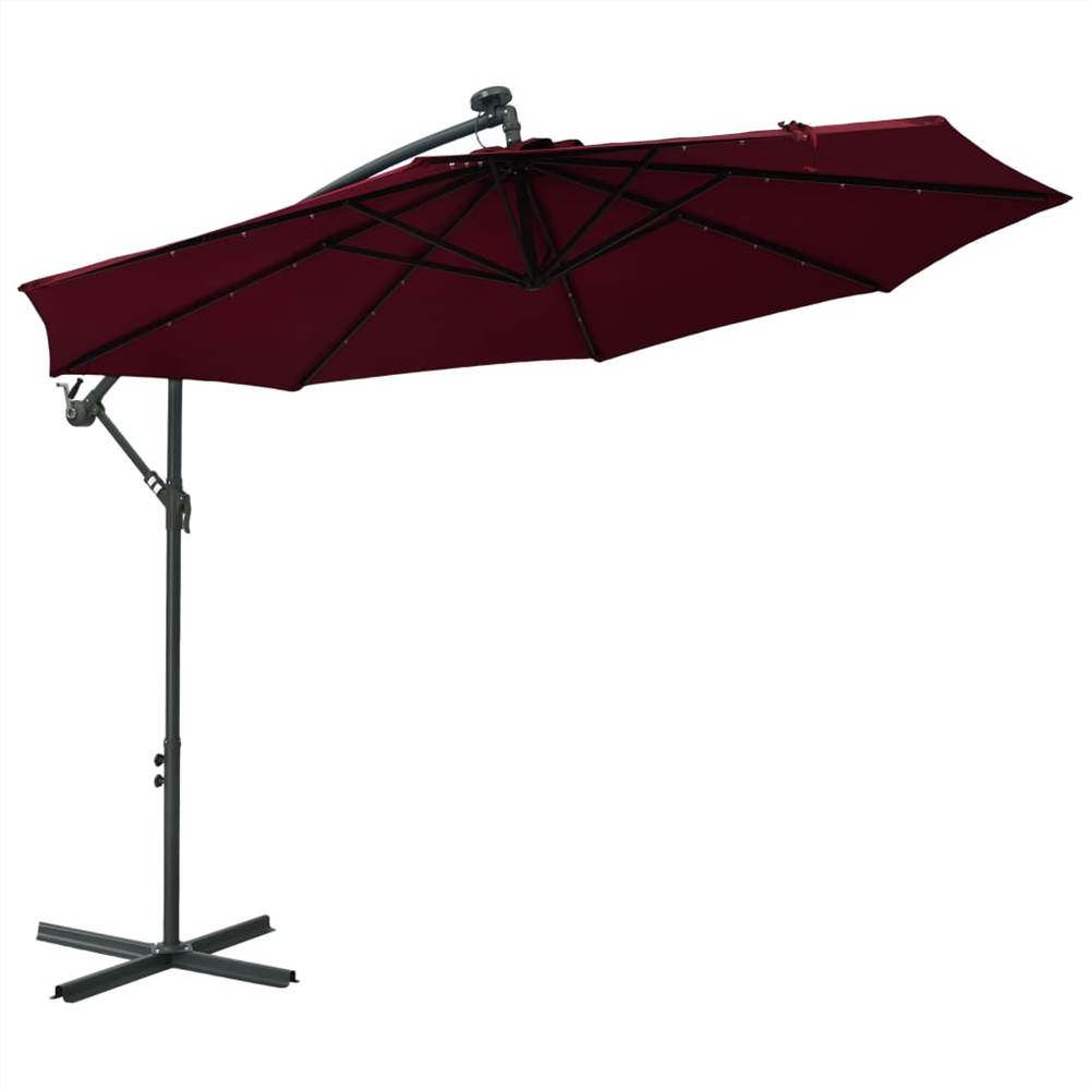 Cantilever Umbrella with LED Lights and Steel Pole Wine Red