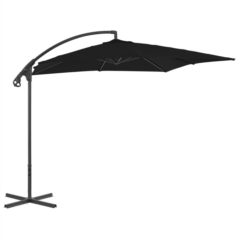 Cantilever Umbrella with Steel Pole 250x250 cm Black