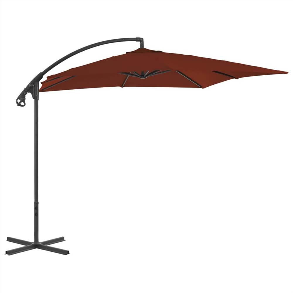 Cantilever Umbrella with Steel Pole 250x250 cm Terracotta