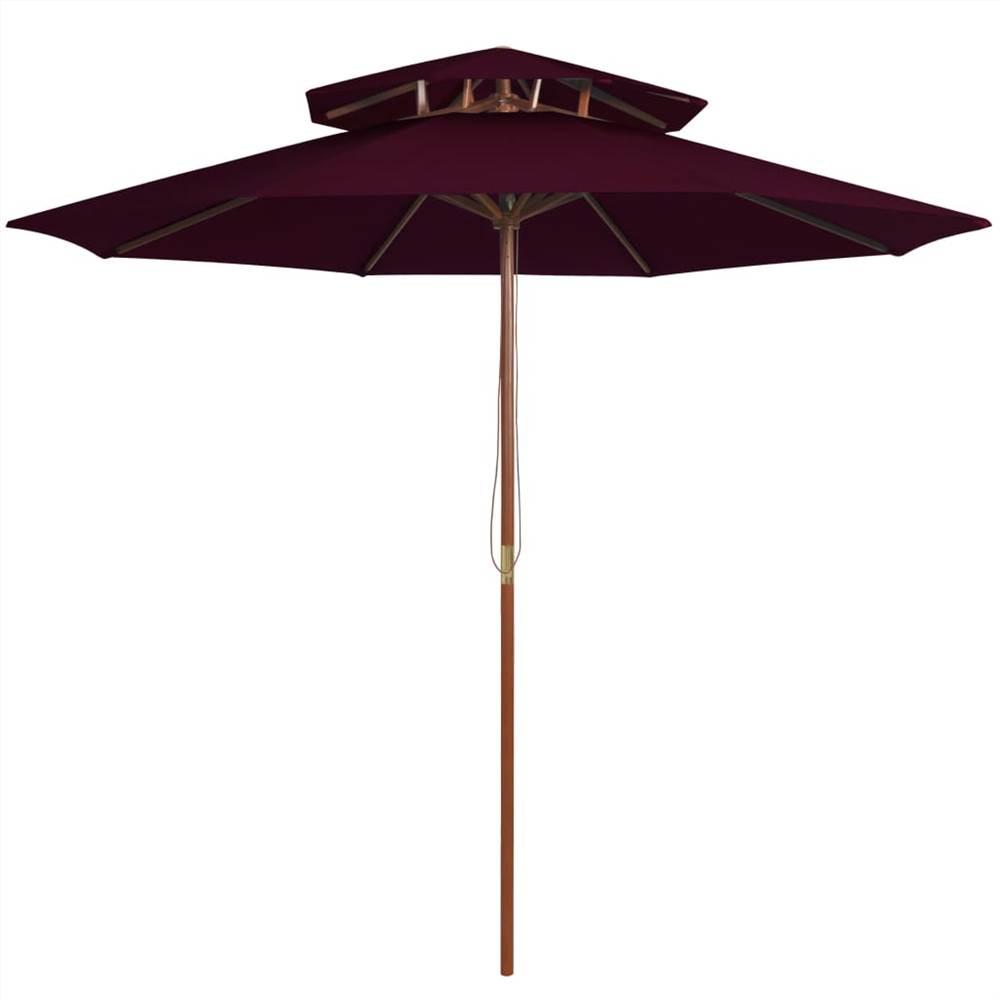 Parasol Double Decker avec Poteau Bois Bordeaux Rouge 270 cm