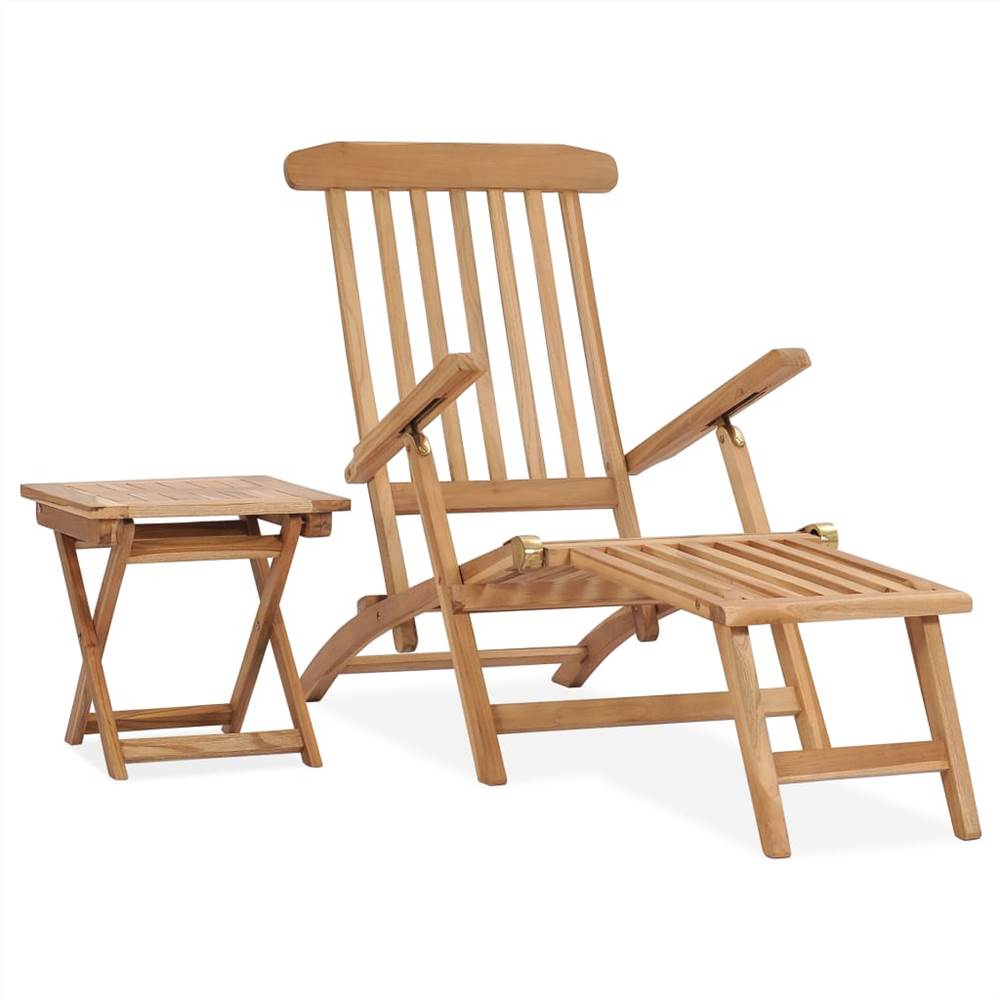 Garden Deck Chair with Footrest and Table Solid Teak Wood