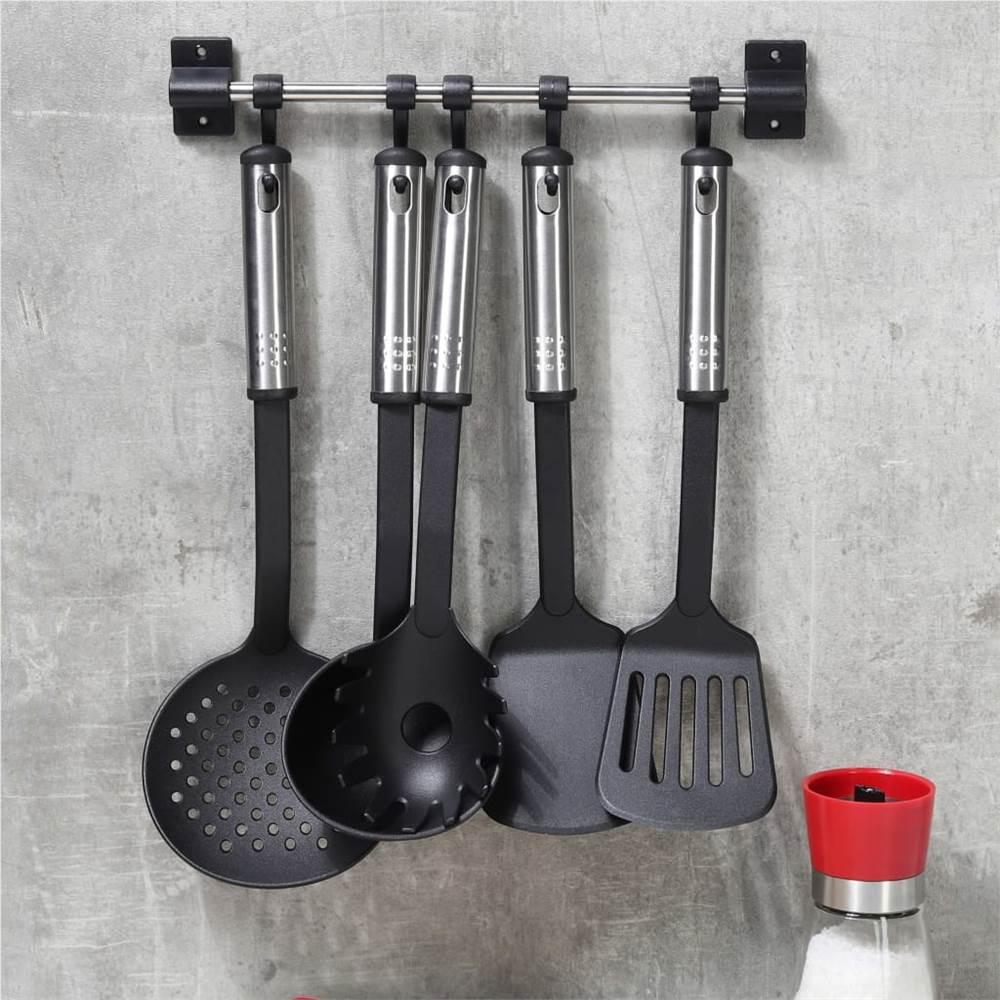 HI 6-teiliges Küchenwerkzeug-Set Schwarz und Silber