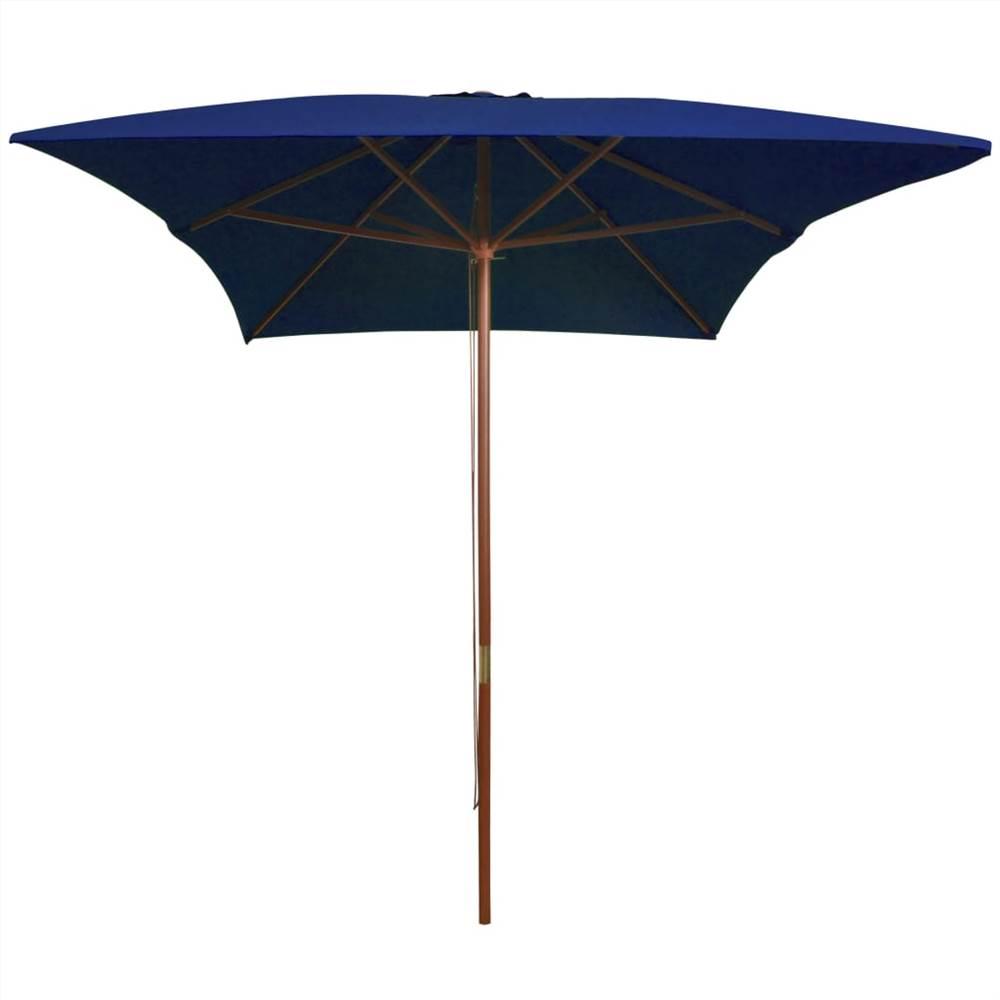 Parasol d'extérieur avec poteau en bois bleu 200x300 cm