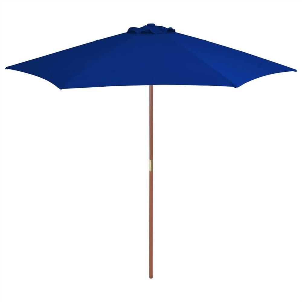 Parasol d'extérieur avec mât en bois Bleu 270 cm