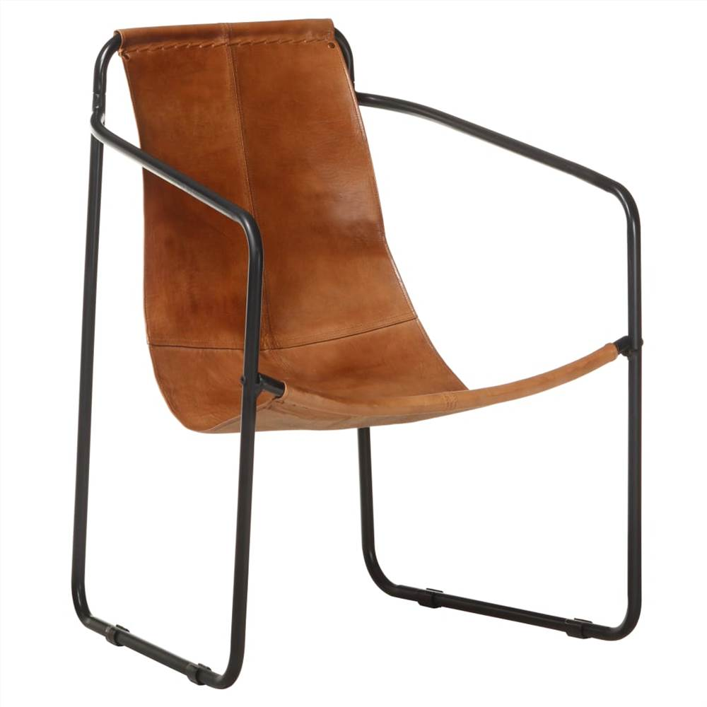 Relaxing Armchair Brown Real Leather