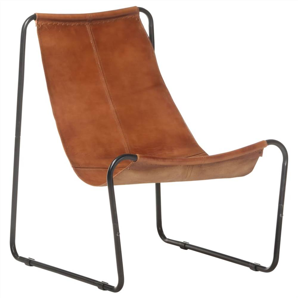 Relaxing Chair Brown Real Leather