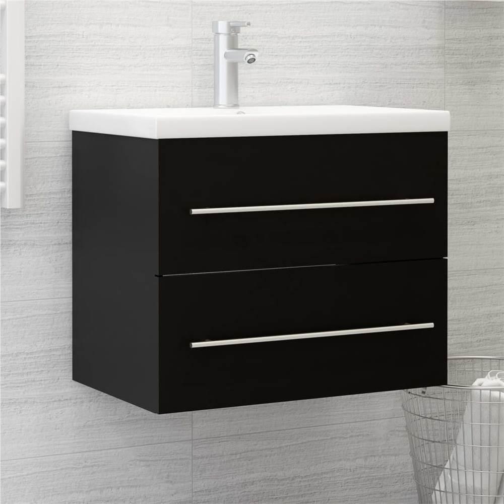 Sink Cabinet Black 60x38.5x48 cm Chipboard