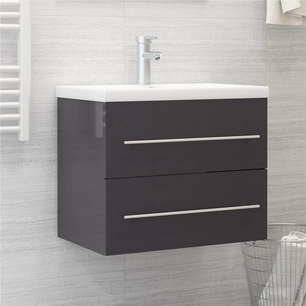 Sink Cabinet High Gloss Grey 60x38.5x48 cm Chipboard